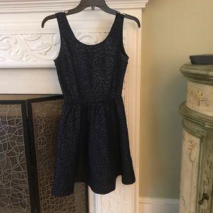 Navy Blue Rose embossed Saks 5th Dress